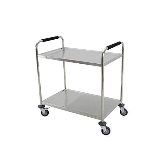 YASEking Rack - Entrega de restaurante móvil con 2 capas colección vajilla de acero inoxidable carro multifunción práctico (tamaño : 90 x 50 x 90 cm)