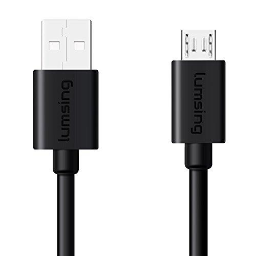 Lumsing - Cavo di ricarica rapida USB 2.0 A maschio a B maschio per smartphone Android, Samsung, HTC, Sony, Nexus e altri (nero)