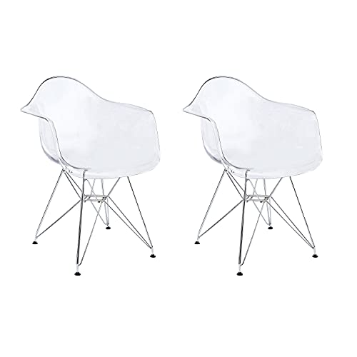 CangLong Clear Plastic Armchair Metal Legs Dining Chair - Lounge Chair Arm Chair for Kitchen,...