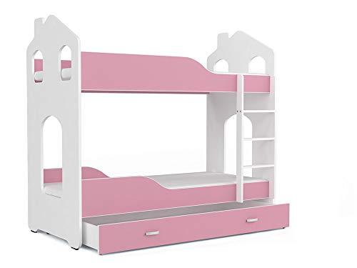 FurnitureByJDM - Stapelbed voor kinderen met matrassen en opberglade - DOMINIC - (Wit / Roze, Dominic - House)