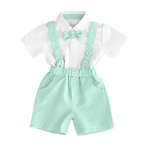 Sunnymi  Gentleman Suits - Conjunto de camiseta de manga corta con tirantes y pantalones cortos verde 6-12 Meses