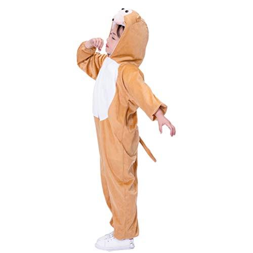 Amosfun Kinder AFFE Onesie Tier Pyjamas Kostüm Cosplay AFFE Overall für Kinder Kleinkinder Party Kostüm - Größe L