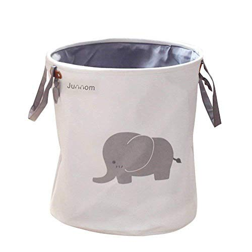Opslagranden, Junnom inklapbaar & handig wasbak/wasmand/wasmand Hamper/Opslagruimte voor kantoor, slaapkamer, kleding, speelgoed - Super schattig grijs olifant