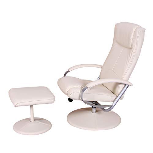 Mendler Relaxliege Relaxsessel Fernsehsessel N44 mit Hocker - Creme-weiß
