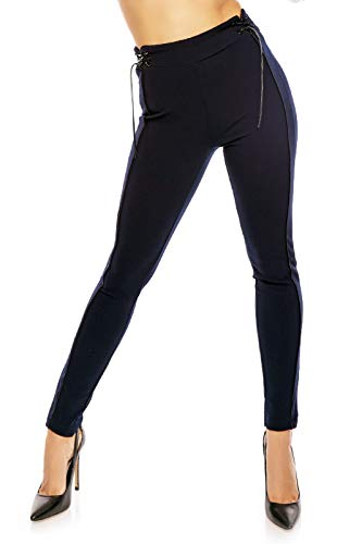Mayaadi Damen Sexy Hose Business Pants Freizeit Party Stoffhose Casual LPA573-6 Dunkelblau L