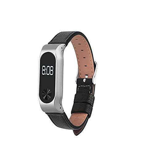 PAZHOU Eastar - Correa de cuero para reloj inteligente XiaoMI Band 2 de acero inoxidable para reemplazar pulseras de cuero para Mi Band 2 (color de la correa: negro)