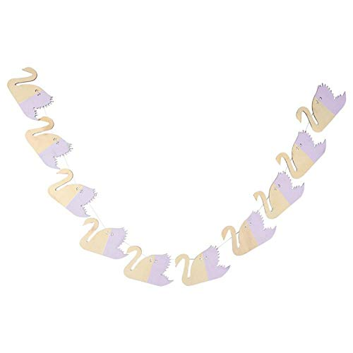 Omabeta Non-Toxic Swan Shape Harmless Wooden Garland Hanging Decoration for Birthday Party Decoration for Wedding Party Decoration(purple)