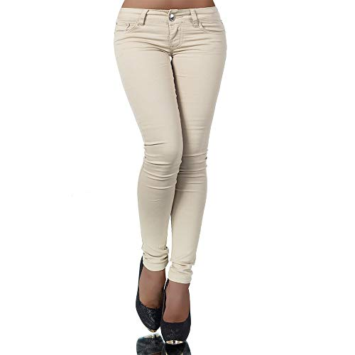 Damen Jeans Hose Hüfthose Damenjeans Hüftjeans Röhrenjeans Röhrenhose Röhre H937, Farbe: Beige, Größe: 38 (M)