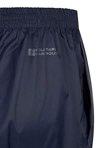 Mountain Warehouse Pakka Womens Waterproof Over Trousers - Packaway Bag, Breathable Rain Pants, Hook & Loop Ankle Opening Ladies Rainwear - for Travelling, Outdoor Navy 10