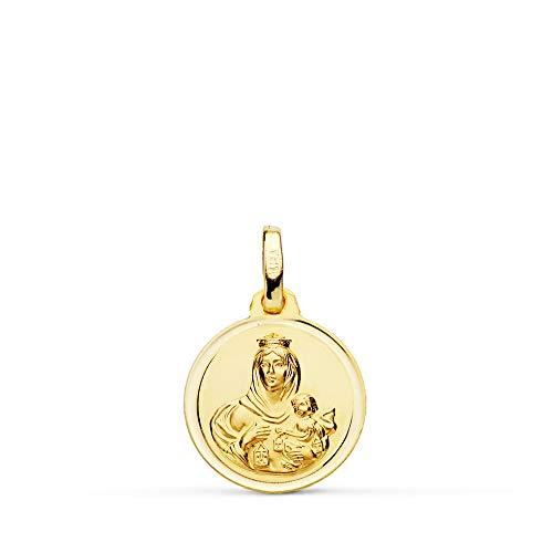 Medalla Nuestra Señora del Carmen. Colgante Virgen. Oro 18 Kilates Bisel 14mm - Grabado personalizado