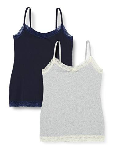 Marca Amazon – IRIS & LILLY Camiseta de Tirantes con Encaje Body Natural para Mujer, Pack de 2