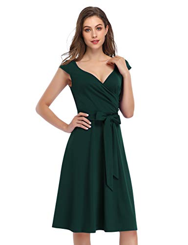KOJOOIN Damen Vintage 50er V-Ausschnitt Abendkleid Rockabilly Retro Kleider Hepburn Stil Cocktailkleid Dunkelgrün 【EU 34-36】/S