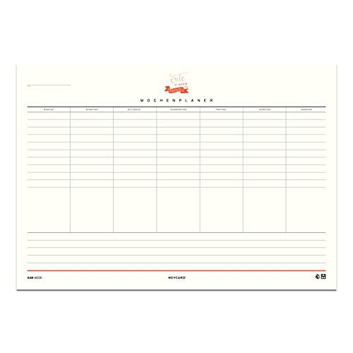 MEYCARD - A4B WEEK, planificador semanal, bloc de 50 hojas, formato apaisado DIN A4, papel natural, con escritura a mano.
