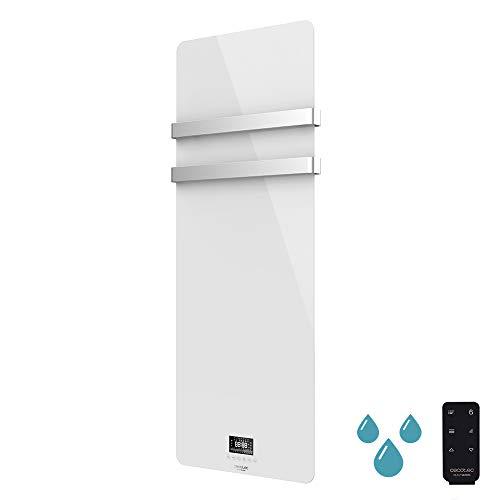 Cecotec Toallero eléctrico de Cristal Ready Warm 9870 Crystal Towel. 850W, Doble Colgador de Acero Inoxidable, Mando a Distancia, Pantalla LED, Temporizador, Protección IP24