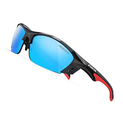 スポーツサングラス 偏光レンズ EMSフレーム おしゃれ 超軽量 快適 防風 防砂 紫外線防止 UVカット メンズ バイク お釣り アウトドア 運転 マラソン 専用交換レンズ3枚付き バンド付きメガネフレーム付きKD017 (ブライトブラック&ブルーレンズ