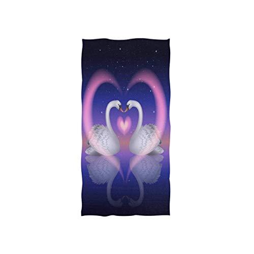 N/A Toalla de mano ultrasuave con forma de corazón de cisne de secado rápido, muy absorbente, 30 x 15 pulgadas, toalla de lavado de cara para baño, gimnasio, yoga