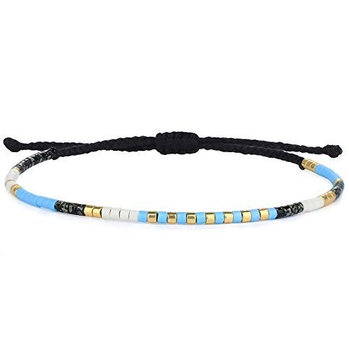 KELITCH Boho - Farbe Kristall Schale Wulstig Freundschaft Armbänder Handgefertigt Strang Armband Armreifen Schmuck Zum Sommer (Blau Schwarz 88L)