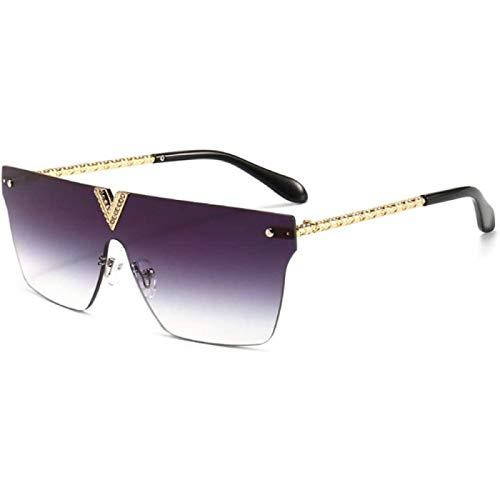 ZHANG Gafas de Sol para Mujer, Gafas de Sol de Una Pieza para Hombre, Cuadradas de Metal, Gradiente Dorado, Sin Montura, para Mujer, Gafas de Sol con Diamantes de Imitación Uv400