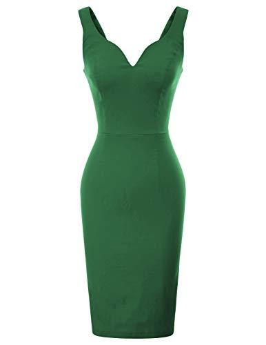 GRACE KARIN Donna Abito Stretto Elegante Verde per Feste S CL010987-5