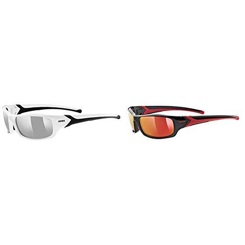 Uvex Sportstyle 211 Sportsonnenbrille, White-Black + Schwarz (Black-red), One Size