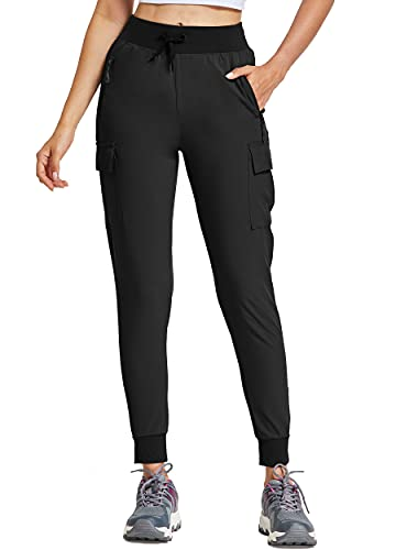 Willit Women's Cargo Hiking Pants Lightweight Athletic Outdoor Travel Joggers Quick Dry Workout Pants Water Resistant Black M