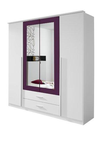 Rauch Möbel Krefeld Schrank Kleiderschrank Drehtürenschrank in Weiß / Brombeer, 4-türig mit Spiegel und 2 Schubladen, BxHxT 181x199x56 cm