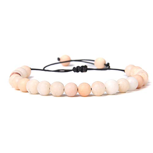 Stone Bracelet Bangles Wristlet,6Mm Pink Natural Zebra Stone Beads Braided Bracelet Women Fashion Blue Sodalite Beaded Lucky Adjustable Bangle For Unisex Accessorie Yoga Jewelry ,Pink Aventurine