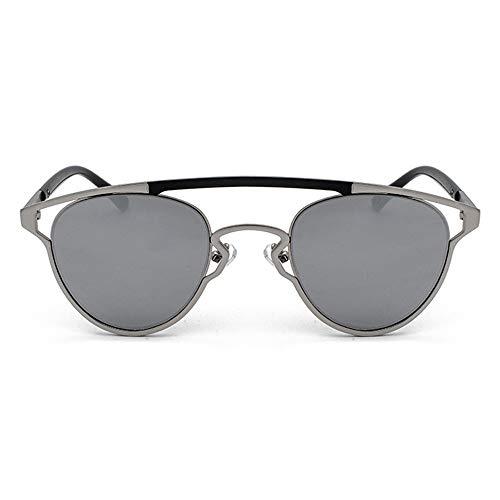 LCSD gafas de sol hombre Plata Retro Personalidad Gafas de sol Nuevo Oval Hueco Unisex UV400 Protección