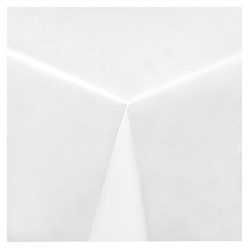 WACHSTUCH Tischdecken Wachstischdecke Gartentischdecke, Abwaschbar Meterware, Länge wählbar, Uni Weiß Glatt (100-00) 110cm x 140cm