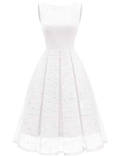 bridesmay Damen elegant Cocktailkleid Spitzen Ärmellos Brautjungfernkleid Midi Ballkleid White 2XL