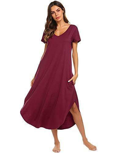 Ekouaer Pajama Shirt Women Short Sleeve Sleepwear Casual V Neck Nightwear (Wine Red,XL)