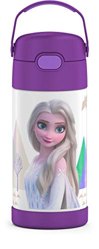 THERMOS FUNTAINER 12 Ounce Stainless Steel Vacuum Insulated Kids Straw Bottle, Frozen 2