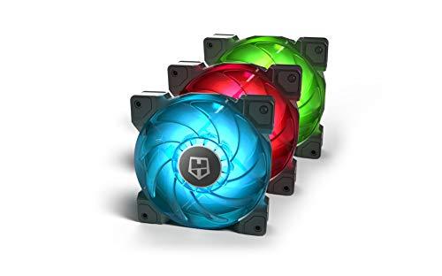 Nox Hummer H-Sync - NXHUMMERHSYNC - Pack de Ventilación LED RGB, 9 aspas traslúcidas, funcion PMW, diseño silencioso optimizado, esquinas soporte de goma, color verde, azul y rojo