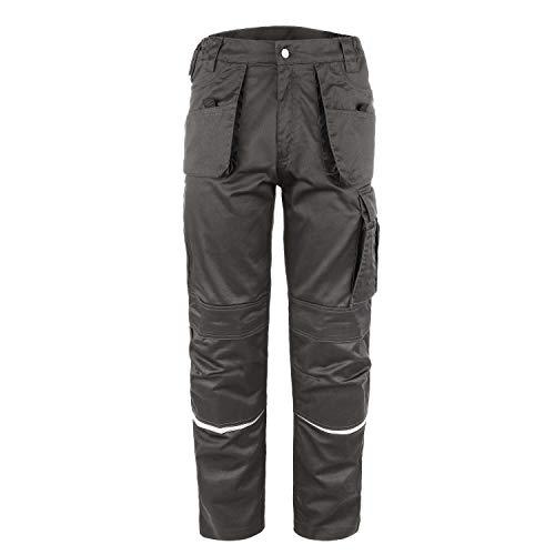 TMG® Comfort Herren Arbeitshose, Lange Cargo Bundhose mit Kniepolstertaschen Grau 48