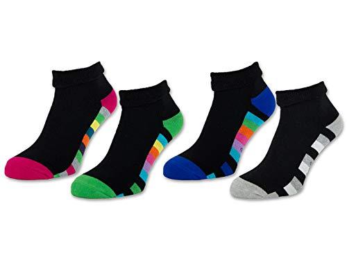2/4 / 6 Paar Damen THERMO Socken Innenfrottee Umschlag-Socken Bunte Ringel Damensocken - 12792 (Schwarz | Bunte Ringel - 39-42, 4 Paar)