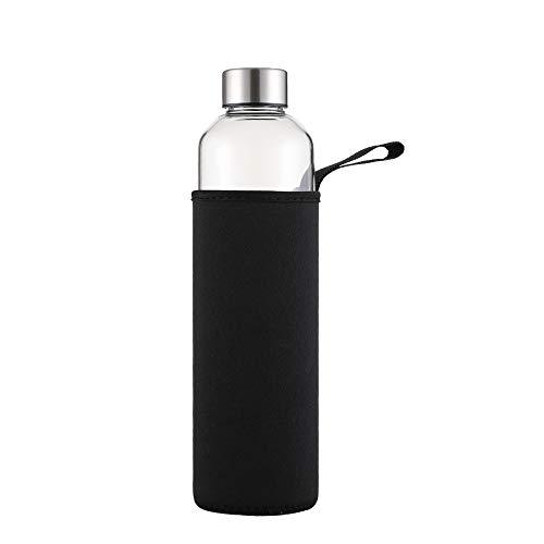 sunkey Trinkflasche Glas 1 Liter Wasserflasche mit Neoprenhülle Auslaufsicher Edelstahl Deckel Bpa Frei