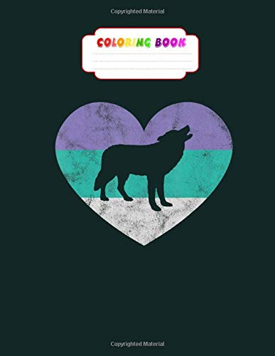 Coloring Book: wolf gif for women girls retro cute wolf- book for kids - 8.5 x11 inches