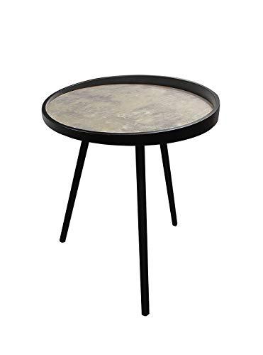 Meubletmoi salontafel, rond, beton-effect en metalen poten – industrieel design – KIO Small