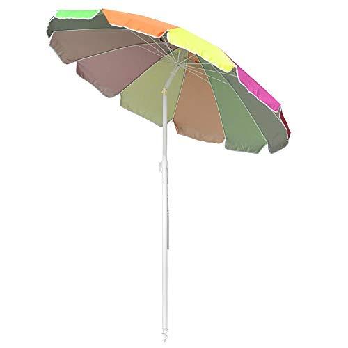 Yescom 6ft Rainbow Beach Umbrella UV Protection Sunshade with Tilt Sand Anchor Carry Bag Outdoor Camping Chair Parasol