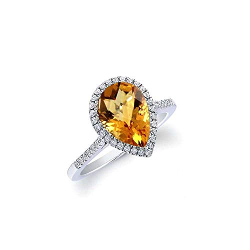 Verona Jewelers Sterling Silver Genuine Gemstone Halo Pear Cut Teardrop Ring for Women- 925 Gemstone Rings, Select Color and Size (8, Citrine)