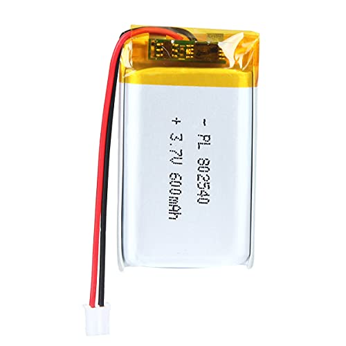 YDL 3.7V 600mAh 802540 Lipo Battery Rechargeable Lithium Polymer ion Battery Pack with JST Connector