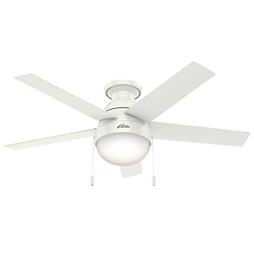 Hunter Indoor Low Profile Ceiling Fan with light and pull chain control - Anslee 46 inch, White, 59269