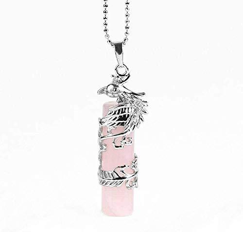 NC188 Collares Pendientes de Piedra para Mujer Piedra de Cuarzo Natural Phoenix Envuelto Collares Pendientes de Cristal de Cuarzo Rosa con Cadena de Plata Regalo