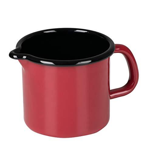 Riess, 0039-020 - Pentola con beccuccio 10 0,75 l, colore: rosso, diametro 10 cm, altezza 10,0 cm, capacità 0,75 litri, smaltata, rosso/nero