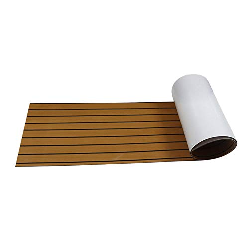 basisago Bootsdeckplatte, Eva Foam Teak Terrassendiele rutschfeste Schaumstoff-Bootsmatte Teppich Klebebodenmatte Pad, Für Wohnmobilböden, Poolböden, Gartenböden
