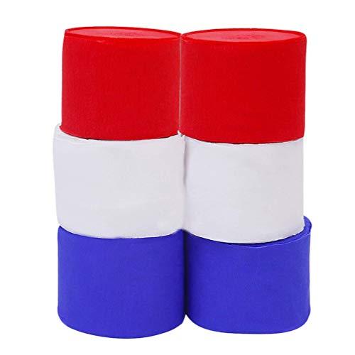 NUOBESTY 6 rollos de papel crepé para fiestas, 2500 x 4,5 x 0,1 cm, color blanco, rojo y azul
