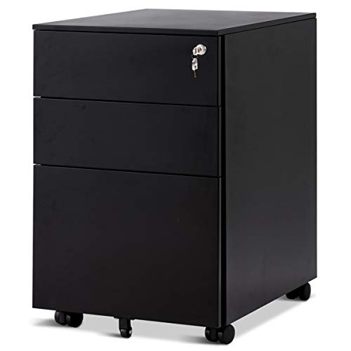 COSTWAY Rollcontainer mit 3 Schubladen, Abschließbarer Büroschrank, Aktenschrank Büromöbel Bürocontainer, 39x48x60cm, Farbwahl (Schwarz)