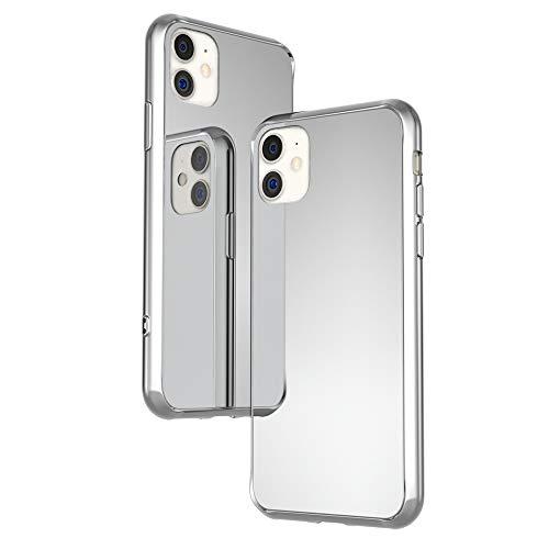 NALIA Funda Espejo Compatible con iPhone 11, Mirror Hard-Case in 9H Vidrio Templado & Silicona Bumper, Delgado Carcasa Rigida Slim Cover Resistente Telefono Movil Proteccion, Color:Plata