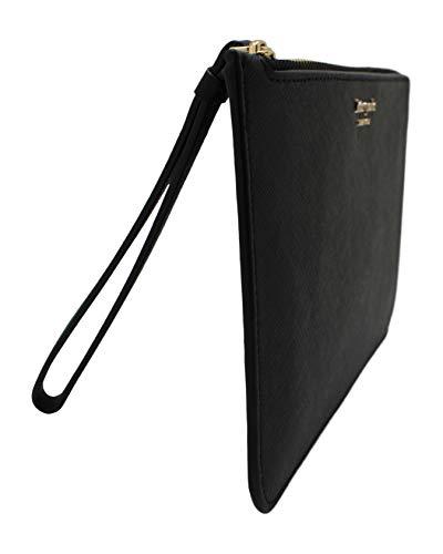 Kate Spade New York Cameron Medium L-Zip Leather Wristlet Pouch Wallet Black Idaho