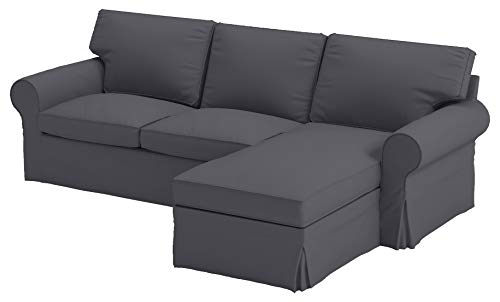 Dense Cotton Ektorp Loveseat with Chaise Lounge Sectional Cover Replacement Compatible to IKEA Ektorp Two Seat Chaise (Four Seat) Sofa Slipcover (Heavy Cotton Dark Gray)